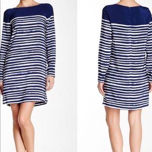 Vince long sleeve blue white striped dress